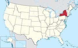 アメリカ全図の中のNY